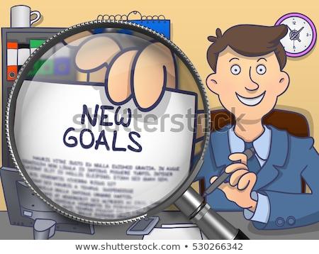 Goals through Magnifying Glass. Doodle Concept. Stock photo © tashatuvango