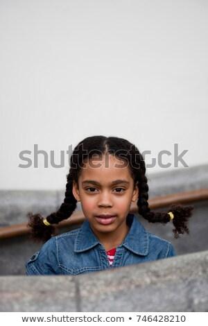 Menina olhando escada trilho retrato jovem Foto stock © IS2