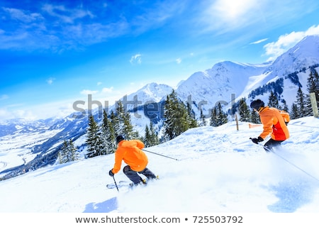 senior couple skiing in mountains Stock photo © IS2