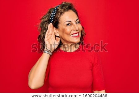 beautiful red-haired lady, gossip and smile Stock photo © balasoiu