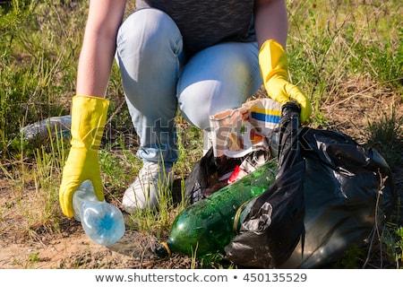 Kobieta śmieci lasu asian recyklingu Zdjęcia stock © RAStudio