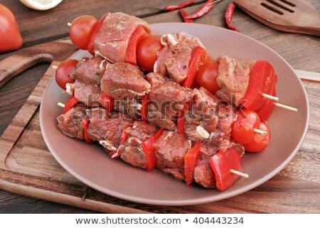 Nyers marhahús paprika nyárs paradicsom főzés Stock fotó © M-studio