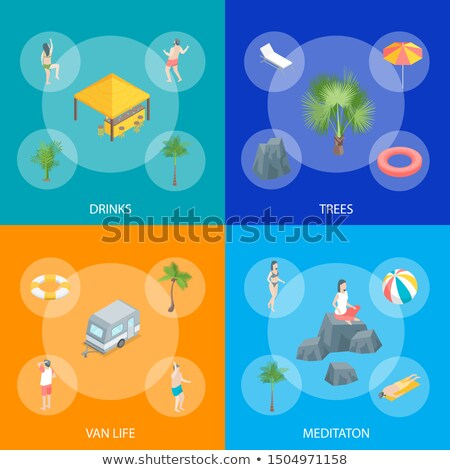 Summer time vacation isometric flyers set stock photo © studioworkstock