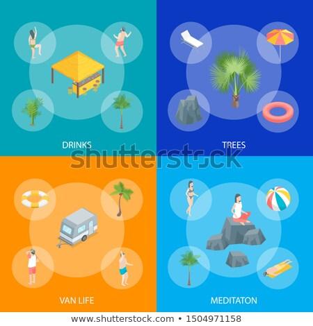 Verão tempo férias isométrica conjunto Foto stock © studioworkstock