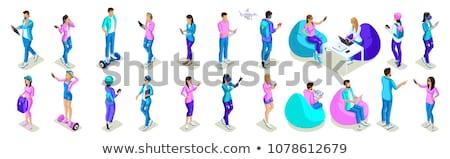 Stock fotó: Emberi · kéz · táblagép · izometrikus · ikon · 3D · online · vásárlás