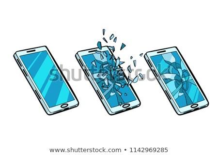 Todo agrietado vidrio teléfono roto Foto stock © studiostoks
