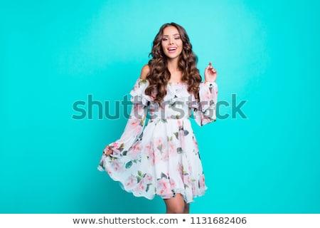 Cute jonge vrouw heldere rok shirt geïsoleerd Stockfoto © robuart
