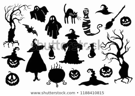 ghost pumpkin lantern and witch hat stencil on white stock photo © tasipas