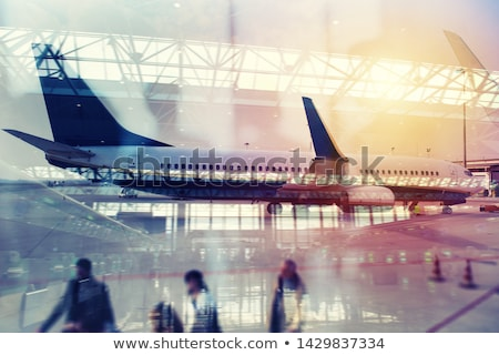 Moderne luchthaven Blur effecten verdubbelen blootstelling Stockfoto © alphaspirit