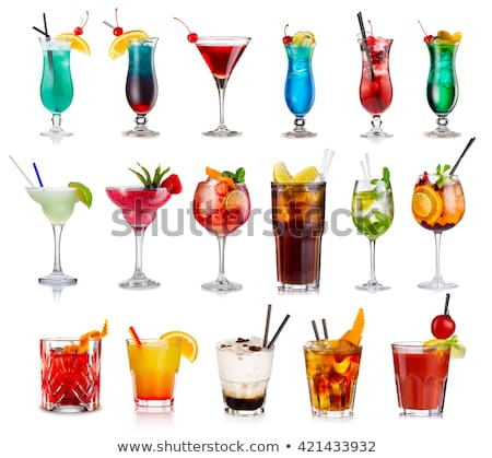 Cocktail Drinks Blue Lagoon and Vodka Juice Straw Stock photo © robuart