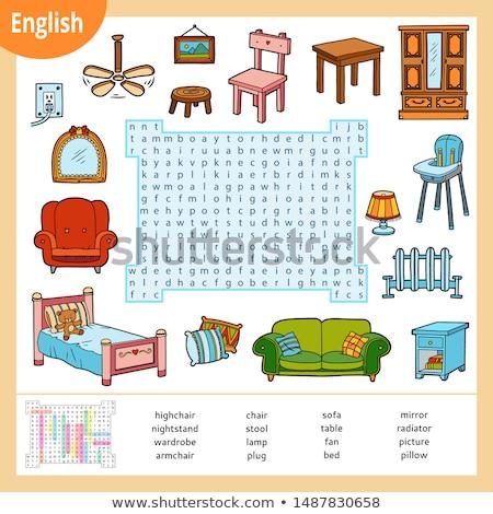 Varázsige angol szó szék illusztráció fa Stock fotó © bluering