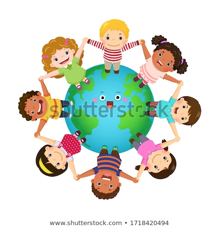 Set of children and globes Stock photo © bluering