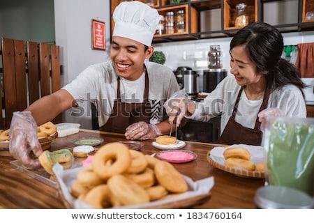 Gelukkig chef paar koken samen keuken Stockfoto © deandrobot