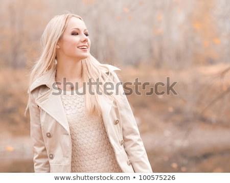 Stockfoto: Mooie · jonge · blond · vrouw · tijd · najaar