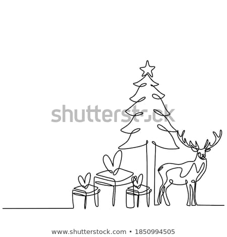 reindeer on a winter background greeting card 1 stock photo © liolle