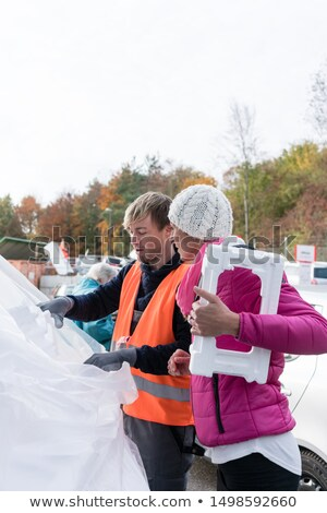 Woman and man on recycling center with Styrofoam Stock photo © Kzenon