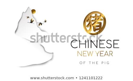 Año nuevo chino cerdo papel corte montana tarjeta Foto stock © cienpies