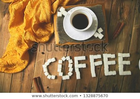 one cup of coffee espresso near sugar cube stock photo © illia