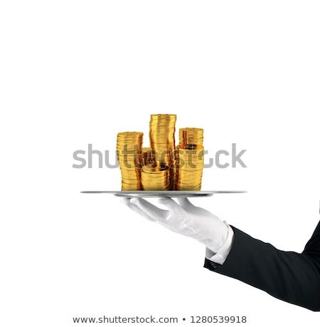 Pincér tálca arany érmék első osztály szolgáltatás Stock fotó © alphaspirit
