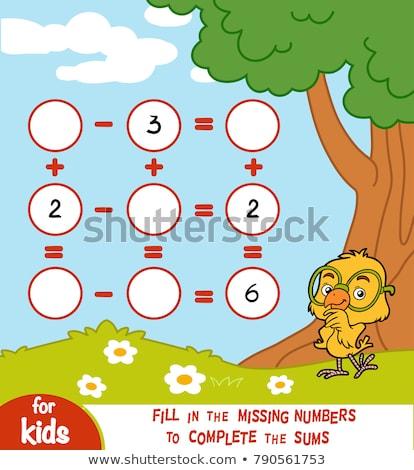 math worksheet with kids in park stock photo © colematt