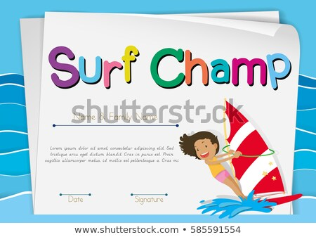 Certificate template for surf champ Stock photo © colematt