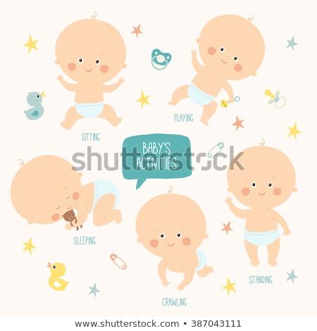 ребенка · полотенце · возраст · 10 · месяцев · изолированный - Сток-фото © lopolo