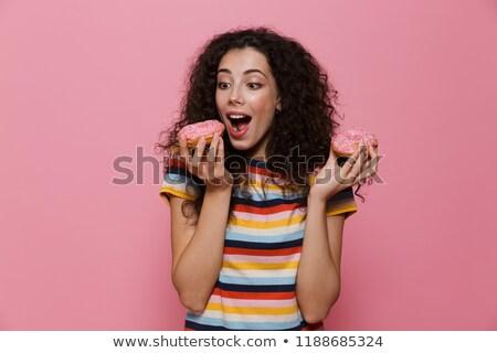 Foto morena mulher 20s cabelos cacheados jogar Foto stock © deandrobot