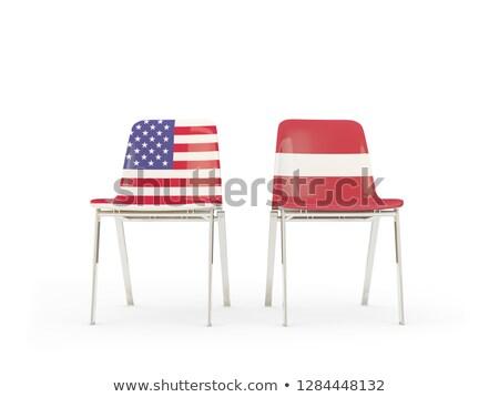 Iki sandalye bayraklar Letonya yalıtılmış beyaz Stok fotoğraf © MikhailMishchenko