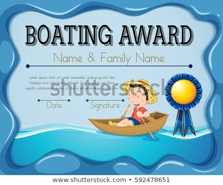 Boating award template with boy rowing boat background Stock photo © colematt