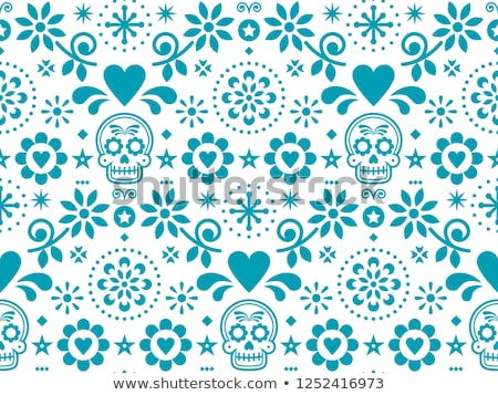 sugar skull vector seamless pattern inspired by mexican folk art dia de los muertos repetitive desi stock photo © redkoala