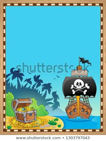 piraat · papier · illustratie · permanente · naast · zee - stockfoto © clairev