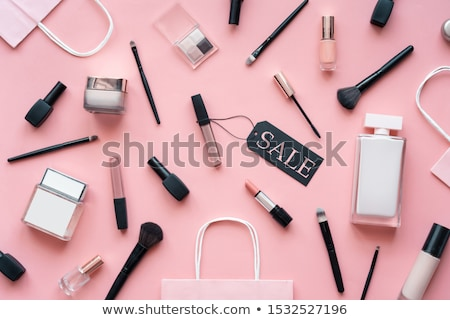 Concept online shopping cosmetics, gift boxes background top view. Sale Ads, magazine or catalog tem Stock photo © ikopylov