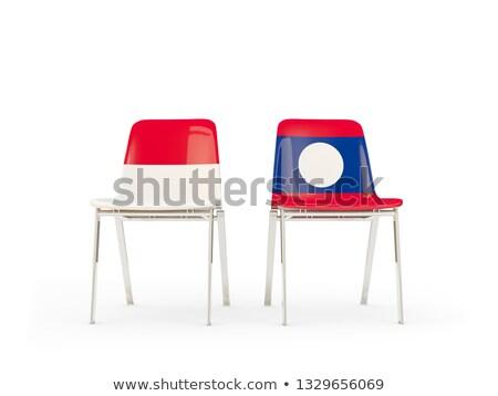 Dwa krzesła flagi Indonezja Laos odizolowany Zdjęcia stock © MikhailMishchenko