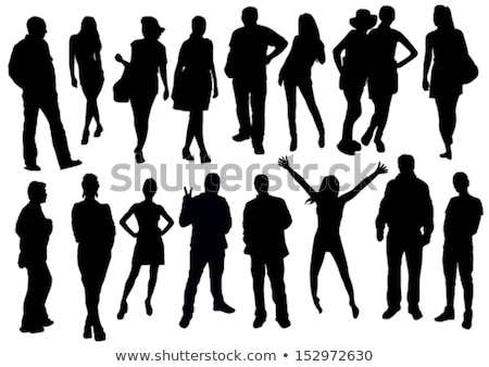 business people silhouette set vector male female guy young figure collection office suitcase stock photo © pikepicture