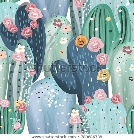 Zöld virág kaktusz végtelen minta tetoválás kézzel rajzolt Stock fotó © Anna_leni
