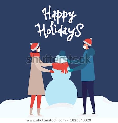 Сток-фото: счастливым · праздников · детей · снеговик · вектора