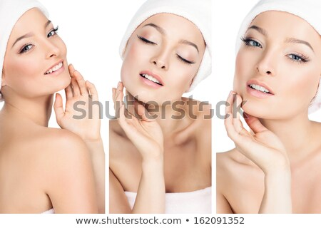 Close up of a beautiful young woman wrapped in towel Stock photo © deandrobot