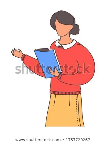 ビジネス · 女性 · 赤 · スカート · 白 · セーター - ストックフォト © ElenaBatkova