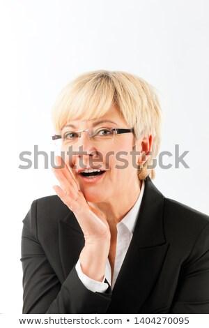 érett üzletasszony közmondás titok közelkép szőke nő Stock fotó © Kzenon