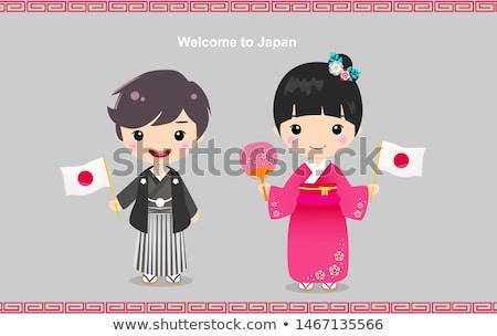 Stockfoto: Kid · meisje · kostuum · japans · vlag · illustratie