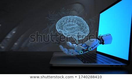 Humanoide robot mano cerebro humano cuaderno 3d Foto stock © limbi007
