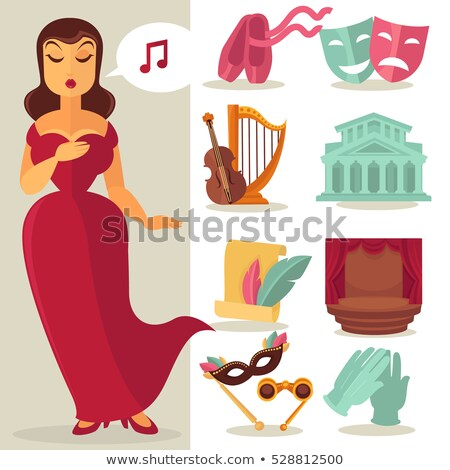 Set of theatre acting performance icons Stock photo © netkov1