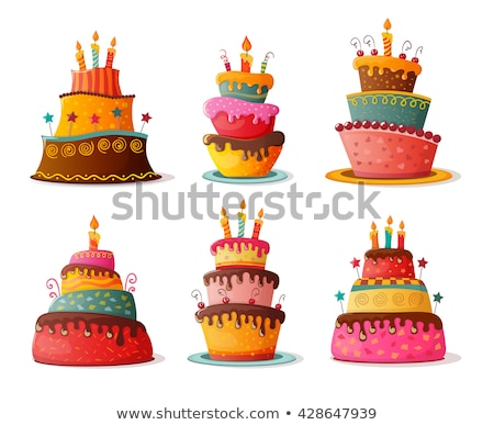 Sweet Cake with Candles Baked for Holiday Birthday Stock photo © robuart