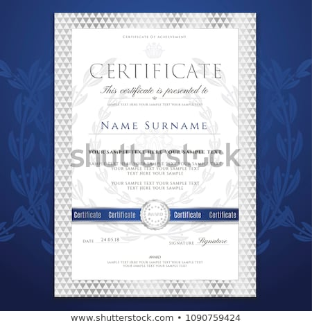 blue certificate of appreciation template with mosaic shapes Stock photo © SArts
