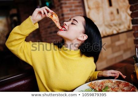 młoda · kobieta · jedzenie · pizza · młoda · dziewczyna · uśmiechnięty - zdjęcia stock © dashapetrenko