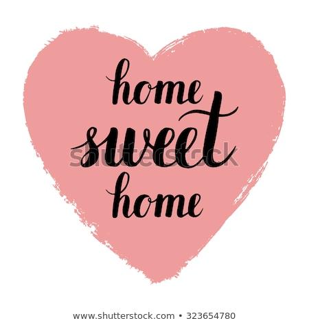 Ev güzel evim siyah yalıtılmış kalpler el yazısı iç mimari Stok fotoğraf © MarySan