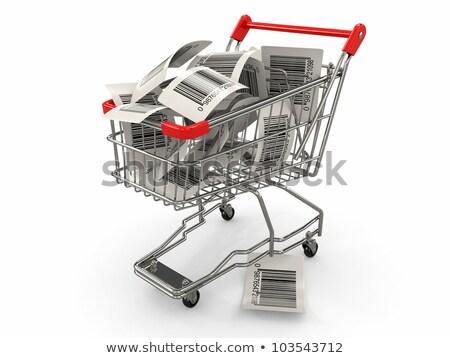 Winkelwagen barcode label 3D 3d render illustratie Stockfoto © djmilic