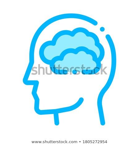 mętny · chmury · człowiek · sylwetka · umysł · wektora - zdjęcia stock © pikepicture