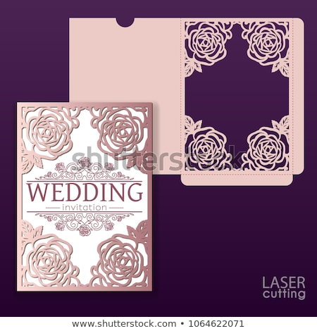 attractive wedding card design with flower decoration Stock photo © SArts