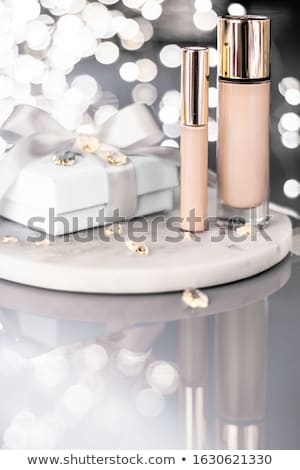 Stock photo: Holiday make-up foundation base, concealer and white gift box, l